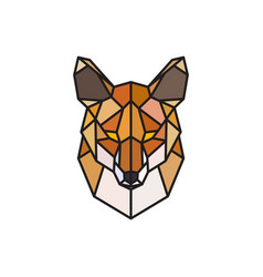 red fox polygonal head wild animal vector image