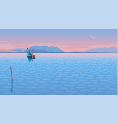 seascape with a boat vector image
