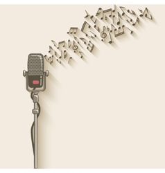 background with retro microphone vector image