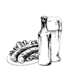 Beer with sausage vector image
