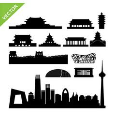 beijing landmark and skyline silhouettes vector image vector image