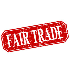 Fair trade red square vintage grunge isolated sign vector
