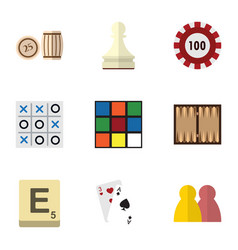 flat icon games set of ace xo cube and other vector image vector image