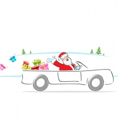 Santa in car vector image