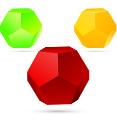 set of dodecahedron vector image vector image