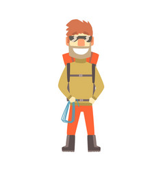 smiling climber man in sunglasses with equipment vector image