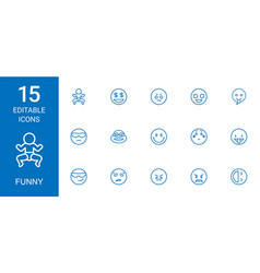 15 funny icons vector