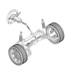 3d model of steering column vector image