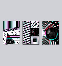 Abstract design set with glitch effect trendy vector