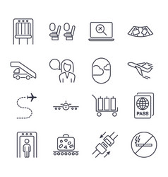airport icon set universal airport and air travel vector image