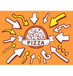Arrows point to icon of pizza on orange b vector