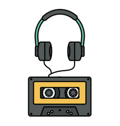 audio earphones technology with retro cassette vector image