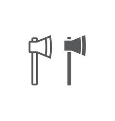 axe line and glyph icon tool and equipment vector image