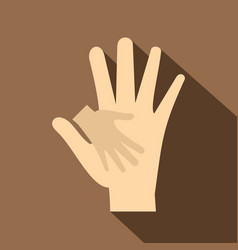 Baby hand in mother hand icon flat style vector
