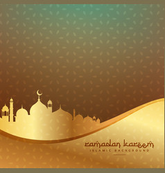 Beautiful islamic background with golden mosque vector