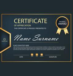 black and gold elegance horizontal certificate vector image