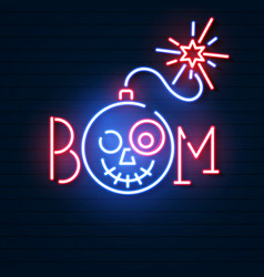 bomb blue glowing neon icon glowing sign logo vector image