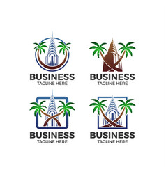 building palm logo vector image