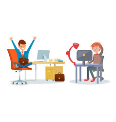 Business affairs in office workers with laptops vector