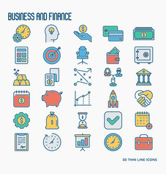 business and finance thin line icons set vector image
