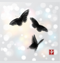 Butterflies hand drawn with ink on white glowing vector