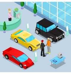 Car Sales Showroom Interior Isometric Transport vector