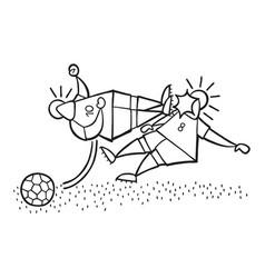 cartoon aggressive soccer player man flying kick vector image
