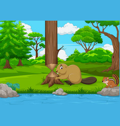 Cartoon beaver cutting a tree in the forest vector