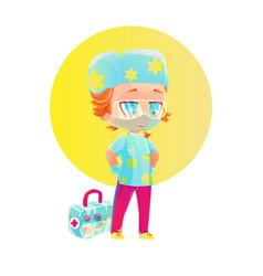 Cartoon boy nurse character vector