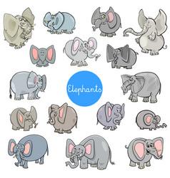 cartoon elephants animal characters collection vector image
