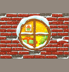 christmas window in stone wall lighted vector image