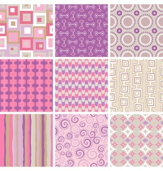Collection of nine retro style seamless patterns o vector
