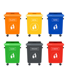 colored tanks on wheels for sorting garbage flat vector image