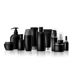 cosmetic products black blank containers and jar vector image