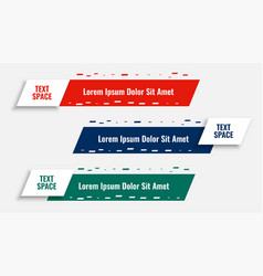 Creative lower third banners template set design vector
