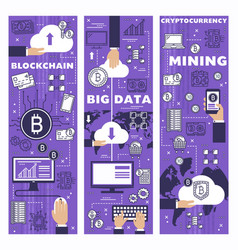 cryptocurrency mining cloud data blockchain vector image