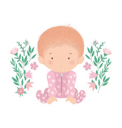 Cute bagirl with flowers and leaves vector