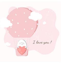 cute bear holding big heart in hot air balloon vector image