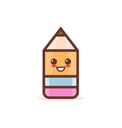cute wooden pencil rubber eraser cartoon comic vector image