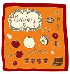 Doodle Fruits Enjoy vector image