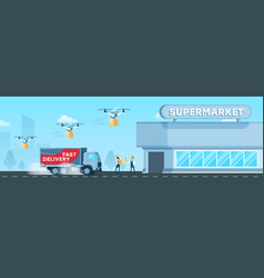 express truck air drone delivery to supermarket vector image