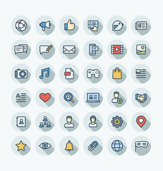 Flat color thin line icons set with social vector