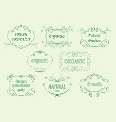 Floral labels for organic products - frames vector