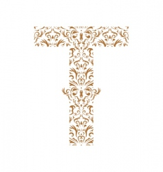 Floral letter t ornament font vector
