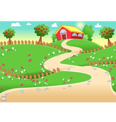 Funny landscape with farm vector image