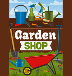 Garden shop and farmer gardening tools vector