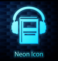 Glowing neon audio book icon isolated on brick vector