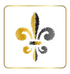 Golden fleur-de-lis heraldic emblem 4 vector
