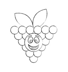Grapes fresh fruit kawaii character vector