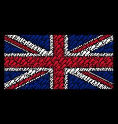 great britain flag mosaic of boot footprint icons vector image